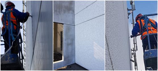 Traitement de joints de façade sur panneaux béton