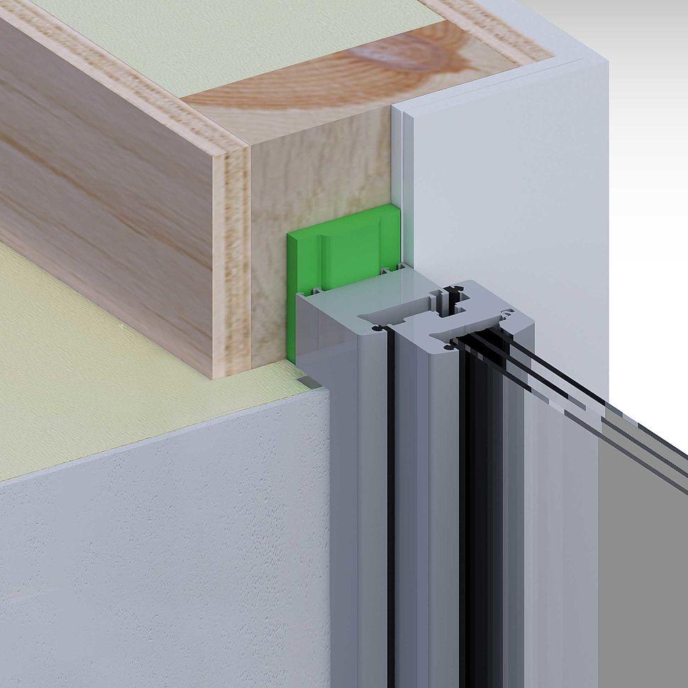 Holzrahmenbau, außen Wärmedämmung, Gipskarton innen, Fenster mittig laibung