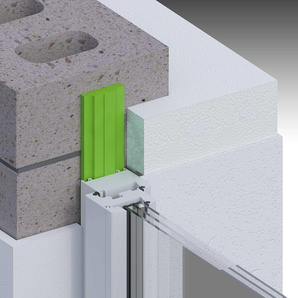 Einschaliges Mauerwerk mit Wärmedämmung außen, Putz innen, stumpf, Fenster mittig Laibung