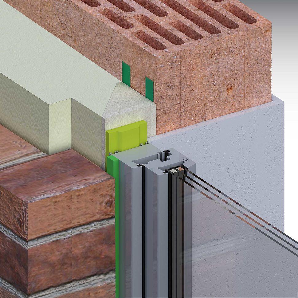 Zweischaliges Mauerwerk, Fenster in der Dämmebene, Vorwandmontage mit Multifunktionsband und Fugendichtungsband im Anschlag