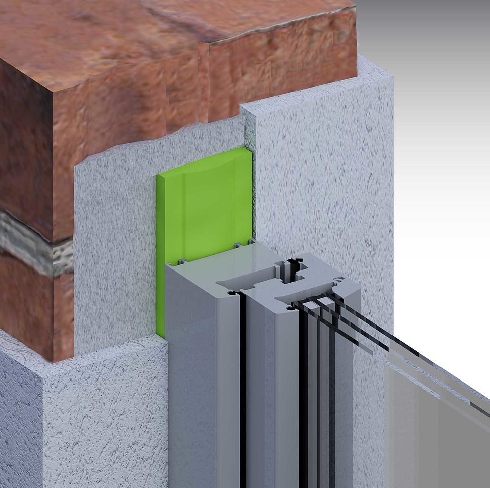 [Translate to Polszczyzna (pl):] Sanierung: Einschaliges Mauerwerk mit Putz außen und innen mit Glattstrich, stumpf, Fenster mittig Laibung