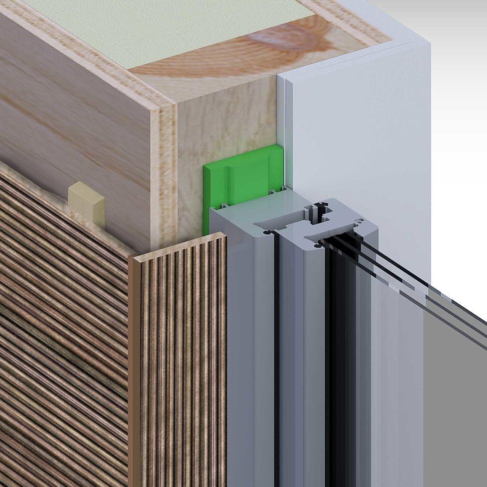 Holzrahmenbau, außen Holzfassade, Gipskarton innen, Fenster mittig Laibung