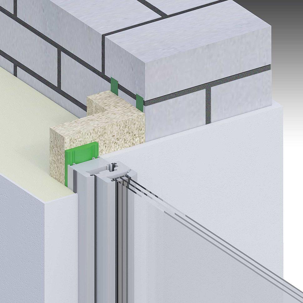 [Translate to Polszczyzna (pl):] Einschaliges Mauerwerk, Fenster in der Dämmebene, Vorwandmontage mit Multifunktionsband