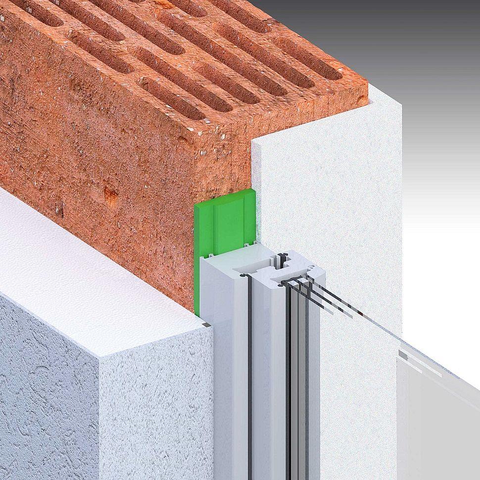 [Translate to Polszczyzna (pl):] Einschaliges Mauerwerk, Wärmedämmung außen, Putz außen, stumpf, Fenster mittig Laibung