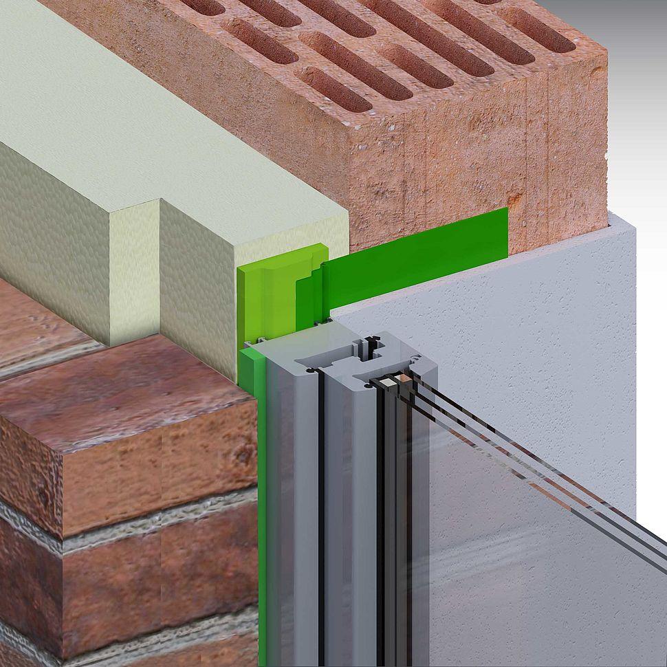 Zweischaliges Mauerwerk, Fenster in der Dämmebene mit Mauerrandstreifen