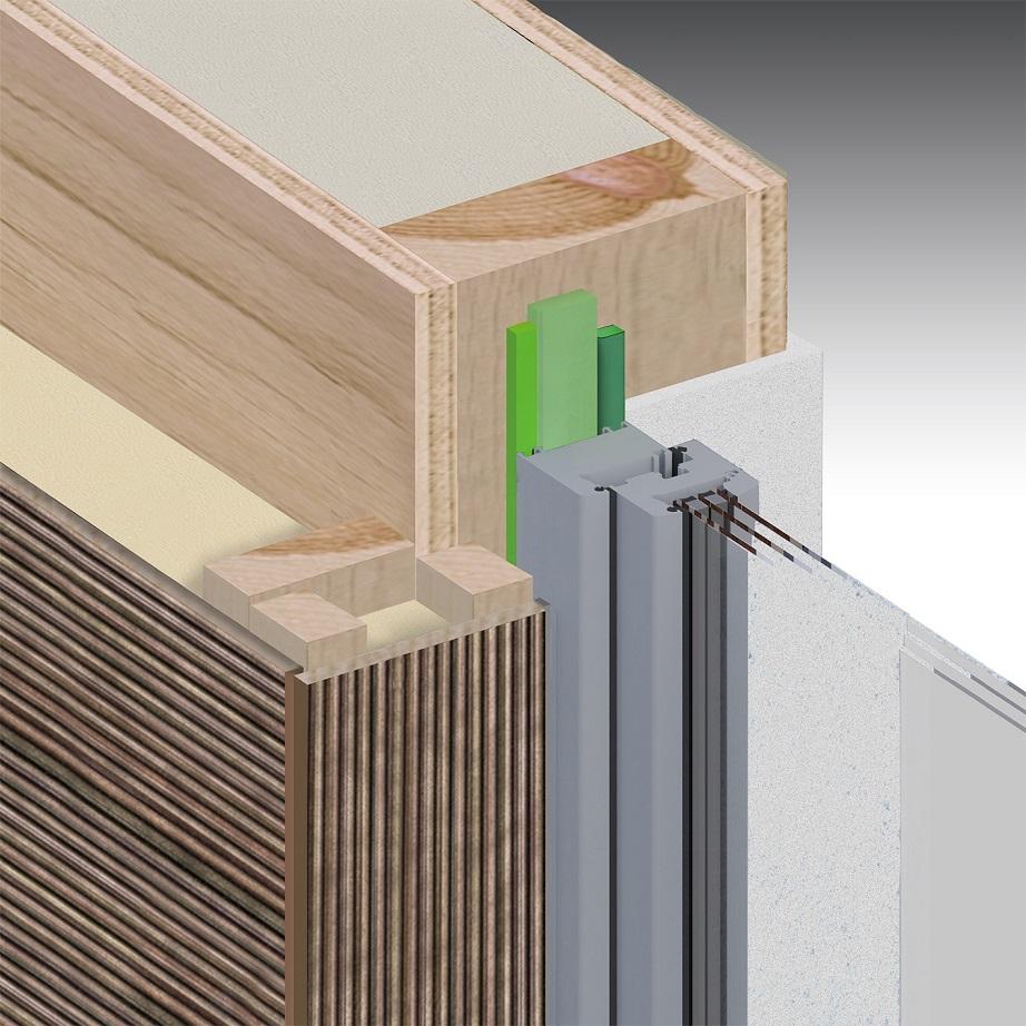 Holzrahmenbau, gedämmte Holzfassade, innen Putz, Anschlag