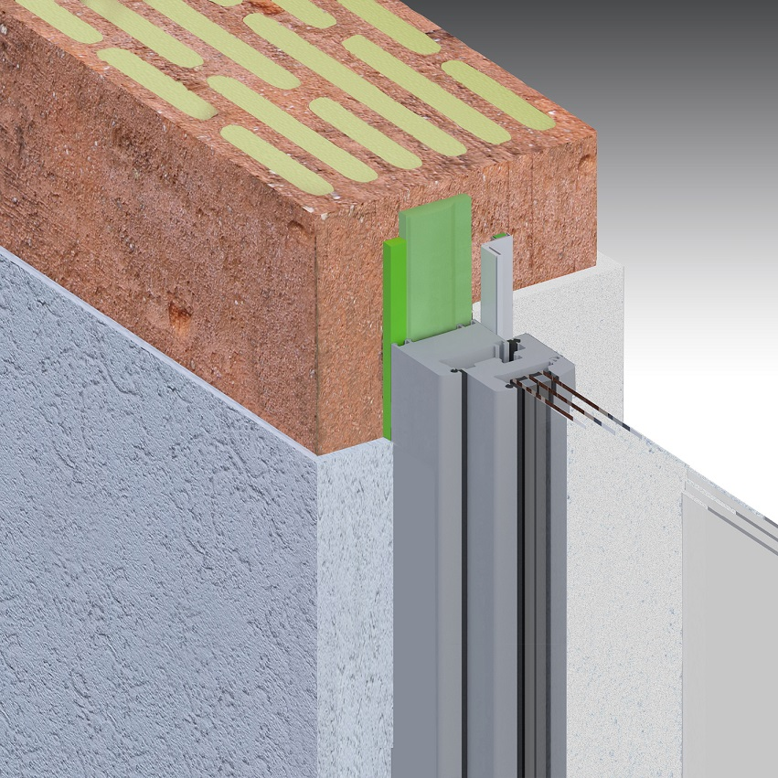 Sanierung: einschaliges Mauerwerk, außen und innen Putz, stumpf, Fenster mittig Laibung